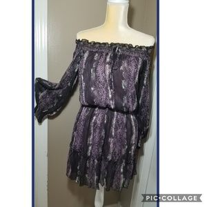 Purple Reptile Print Off Shoulder Dress